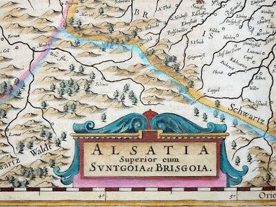 Frankreich Elsass Strasbourg Janssonius Alsatia Superior Sundgau Breisgau 1638