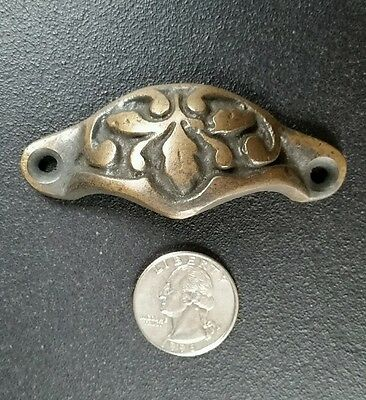 2 Solid Antique Brass Apothecary Victorian Bin Cup Finger Pulls Handles #A3 5