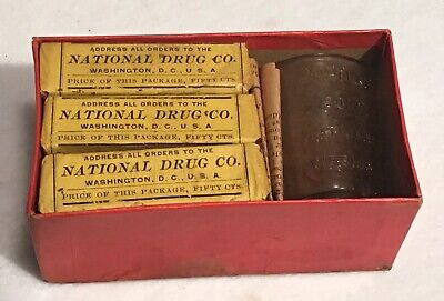 Antique Nature's Cure Blood Purifier Apothecary Pharmacy Box National Drug Co. 11