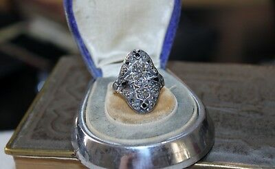 ART DECO vintage STERLING Silver MARCASITE Ring  7 1/2 4