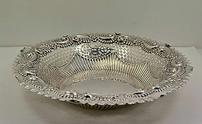"Victorian Sterling Silver Bread bowl Repousse pierced border 9 "" M Bros 1891. 3"
