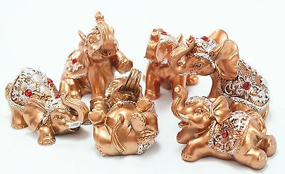 Set of 6 Gold Lucky Elephants Statues Feng Shui Figurine Home Decor Gift