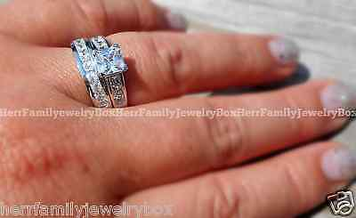 Sterling Silver 14k White Gold Princess Diamond cut Engagement Ring Wedding Set 5