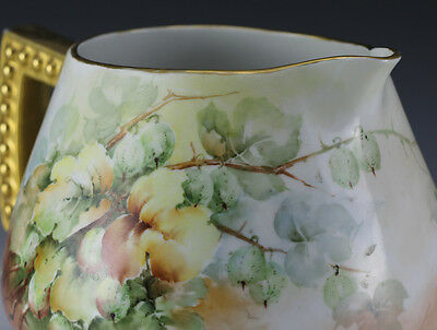 Early 20th century Large Porcelain Handpainted Pitcher - Lush floral painting