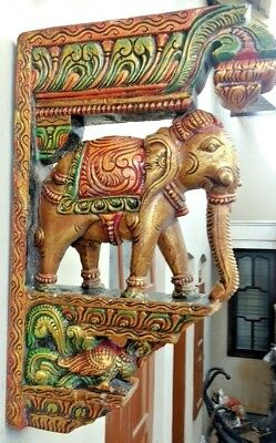 Elephant Handmade Wall Bracket Corbel Pair Wooden Vintage Sculpture Art Decor US 9