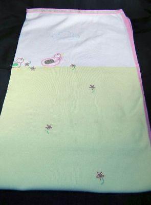 Talbots Kids Green & White Ducks Baby Blanket 100% Cotton 2