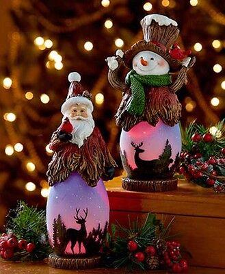 """SNOWMAN LED Winter Scene 11/"""" Light Changes Color Christmas Centerpiece Decor"""