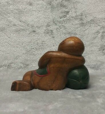 Large Antique/ Vintage Chinese c.20th Hand Carved Wooden Figurine Girl with Boy 7