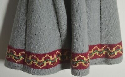Vintage Hand Knit Girl's Wool Sweater & Skirt Outfit Uu306 3