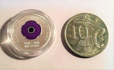 """2018 """"Animals Armistice"""" 1/10th OZ 999 Pure Silver Coin, C.O.A. Purple Poppy. 5"""
