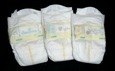 Pampers Preemie Swadlers, fits < 6 lbs diapers for Reborn or baby doll, set of 3 3