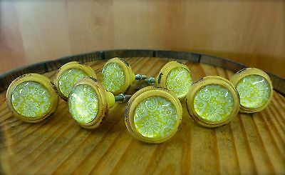 8 YELLOW-WHITE LACE GLASS DRAWER CABINET PULLS KNOBS VINTAGE DISTRESSED hardware 2