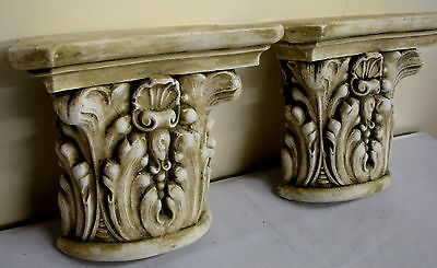 Pair Antique Finish Shelf Capitol plaster Wall Corbel Sconce Bracket Home Decor 2