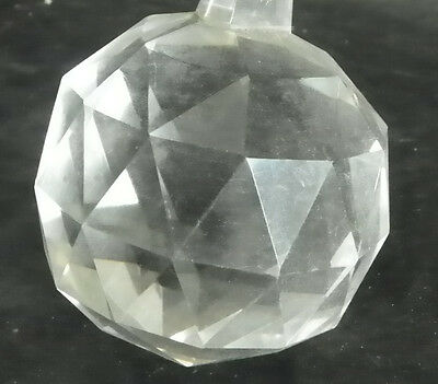 Large Faceted Round Crystal Ball Finial Triangular Cut 4987