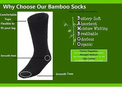 6Prs BAMBOO SOCKS Men's Heavy Duty Premium Thick Work BLACK Bulk New 3