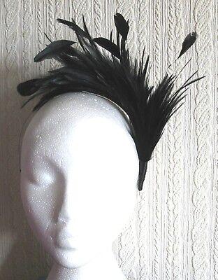 BLACK feather headband fascinator millinery wedding x 2