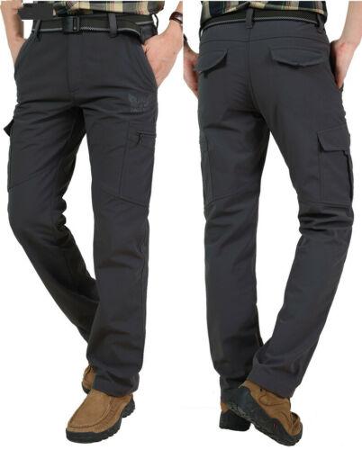 Men's Thermal Winter Pants Fleece Lined Elasticated Work Cargo Combat Trousers 7
