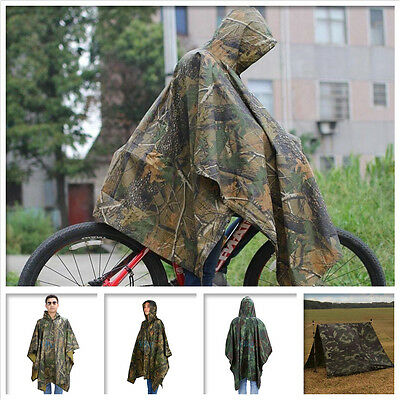 waterproof hooded ripstop camo rain coat poncho military hunting