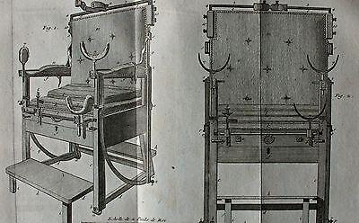 Surgery - Chirurgie Behandlungsstuhl - 2 Kupferstiche (Diderot) um 1770 Pl. 3-5 3