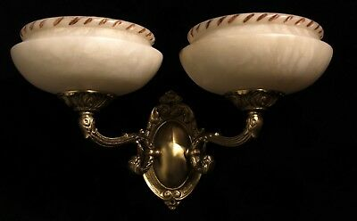 Carved alabaster shades wall lights sconces solid double arms bronze 3