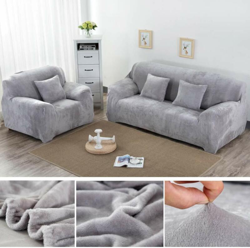 Couverture de canapé Sofa Housse Protector doux Velours Peluche 1-3 siège 2