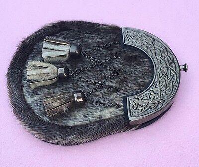Mens Kilt Sporrans Seal Skin Celtic Cantle Antique/full Dress Kilt Sporrans