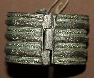 Antique Greek Folk ornate floral Silver Hinged Bracelet 3
