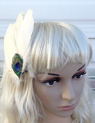 cream ivory fascinator millinery peacock feather hair clip wedding piece ascot 2