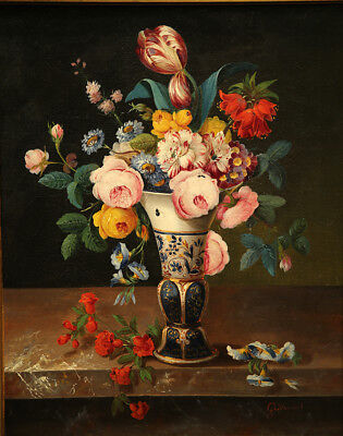 Impressive  Antique 19th Century French Painting Flower Still Life 2