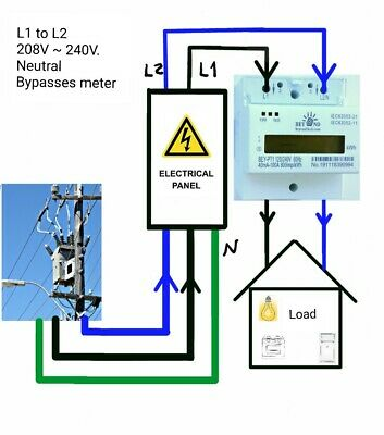 120//240V Electric KWh Meter 50//60hz Up to 100Amps Single Phase DIN-rail Type.