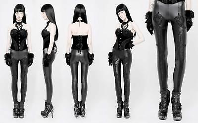 DARK IN LOVE Gothic Grid Leggings Kunstleder-Leggins mit Spitze Leather Lace