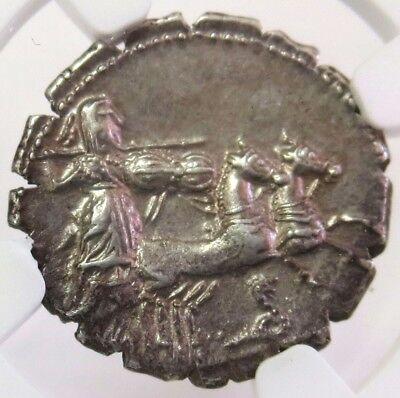 c. 80 BC SILVER ROMAN REPUBLIC L. PROCILIUS DENARIUS SERRATUS NGC CHOICE XF 3