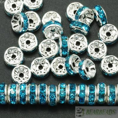 100 Czech Crystal Rhinestone Silver Rondelle Spacer Beads 4mm 5mm 6mm 8mm 10mm 6