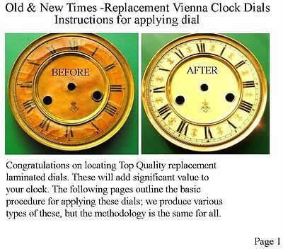 Buyers Ref:U,  Replacement laminate Ivory  Vienna Regulator Clock Dial option 19 3