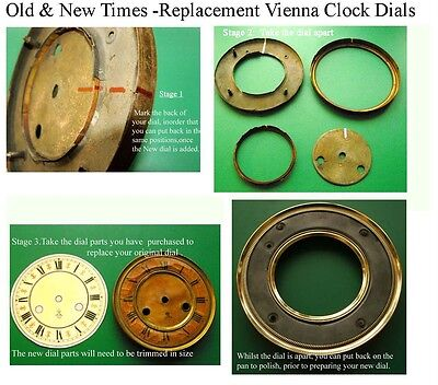 Buyers Ref:R,  Replacement laminate Ivory  Vienna Regulator Clock Dial option 16 4