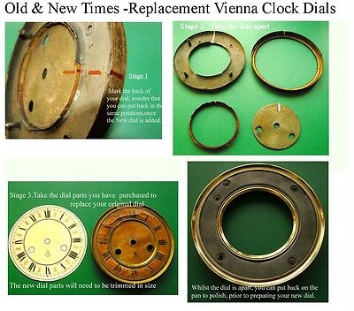 Buyers Ref:M,  Replacement laminate White  Vienna Regulator Clock Dial option 12 4