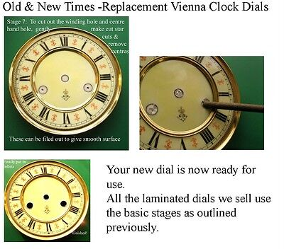 Buyers Ref:F,  Replacement laminate White  Vienna Regulator Clock Dial option 6 8