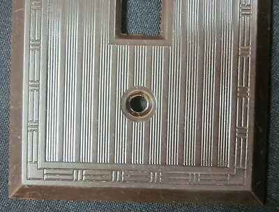 Vintage Ribbed Lines Brown Bakelite Hubbell  P&S Switch Plate Cover Dashed Deco 3