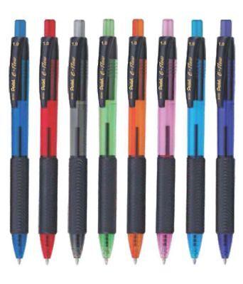 8 x Pentel BK460 e-flow Retractable Ball Pen 1.0mm Metal Tip triangular grip 4