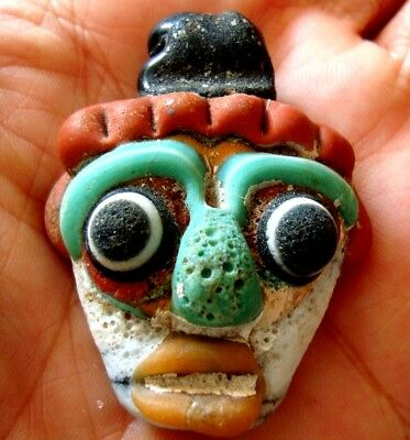 Antique Phoenician Handmade Mosaic Glass Face Pendant 455 6