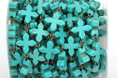 1 yard TURQUOISE HOWLITE CROSS Rosary Chain, bronze, 14mm round beads fch0376a 2