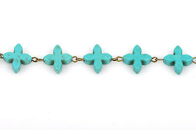 1 yard TURQUOISE HOWLITE CROSS Rosary Chain, bronze, 14mm round beads fch0376a 3