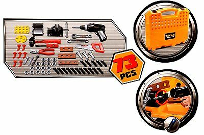 Large 73pc Childrens Tool Bench Set Work Shop Tools Kit Boys Kids Play Workbench Toy DIY Portable SI-TY1043