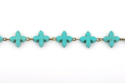 1 yard TURQUOISE HOWLITE CROSS Rosary Chain, bronze, 14mm round beads fch0376a 4