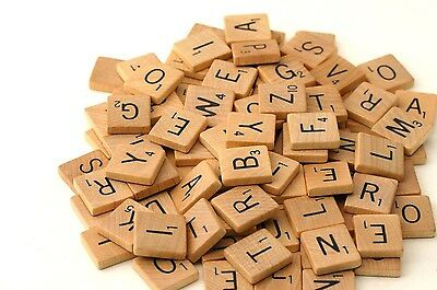 Wooden Scrabble Tiles Individual Letters Numbers Crafts Alphabet Game UK Seller 2