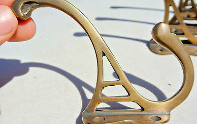 "4 COAT HOOKS door solid brass furniture antiques vintage age old style 4 "" DECO 3"
