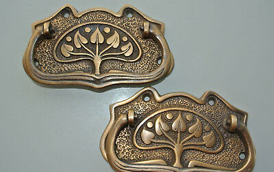2 large DECO cabinet handles solid brass furniture antiques age old style 112 mm 3