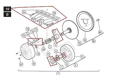 yamaha golf cart secondary clutch diagram oem club car golf cart drive clutch rebuild kit/parts kit ... #2