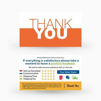 500 Custom Printed Ebay Etsy Seller Id Thank You Cards W Your User Id Orange 34 99 Picclick