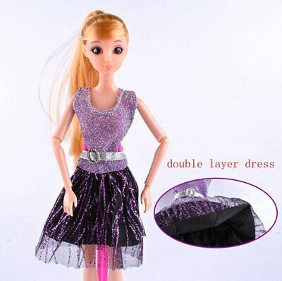 Casual Doll Clothes One Piece Patchwork Purple Glitter Short Dress For 1/6 Doll 2